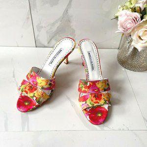 Manolo Blahnik Lacopo Floral Heels Sandals Floral